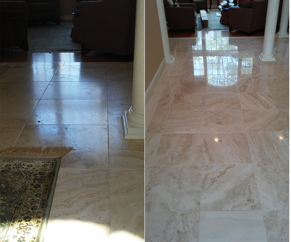Travertine Tile Cleaning & Polishing | Cary NC