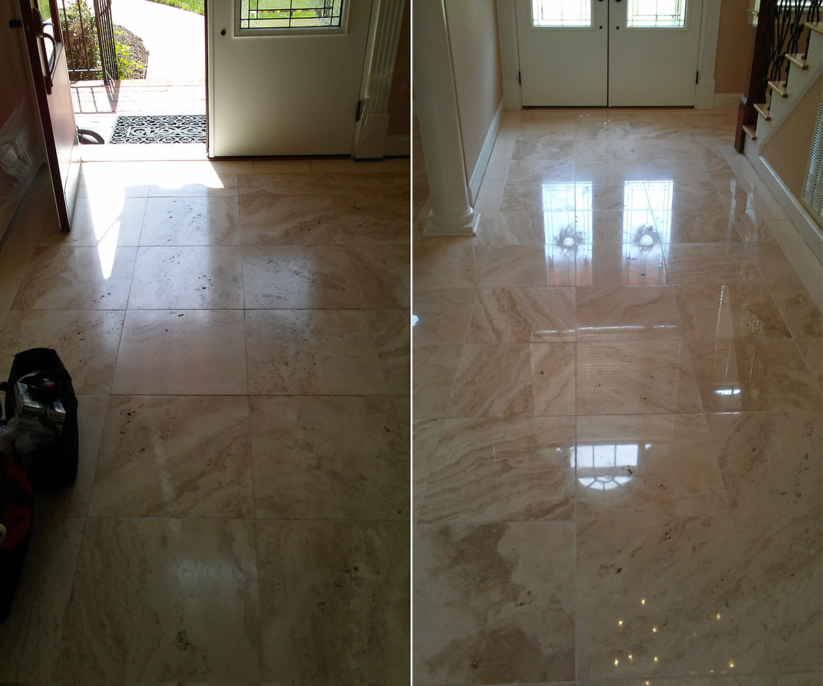 Natural stone cleaning polishing contour cleaning travertine polishing before after travertine tile dailygadgetfo Image collections