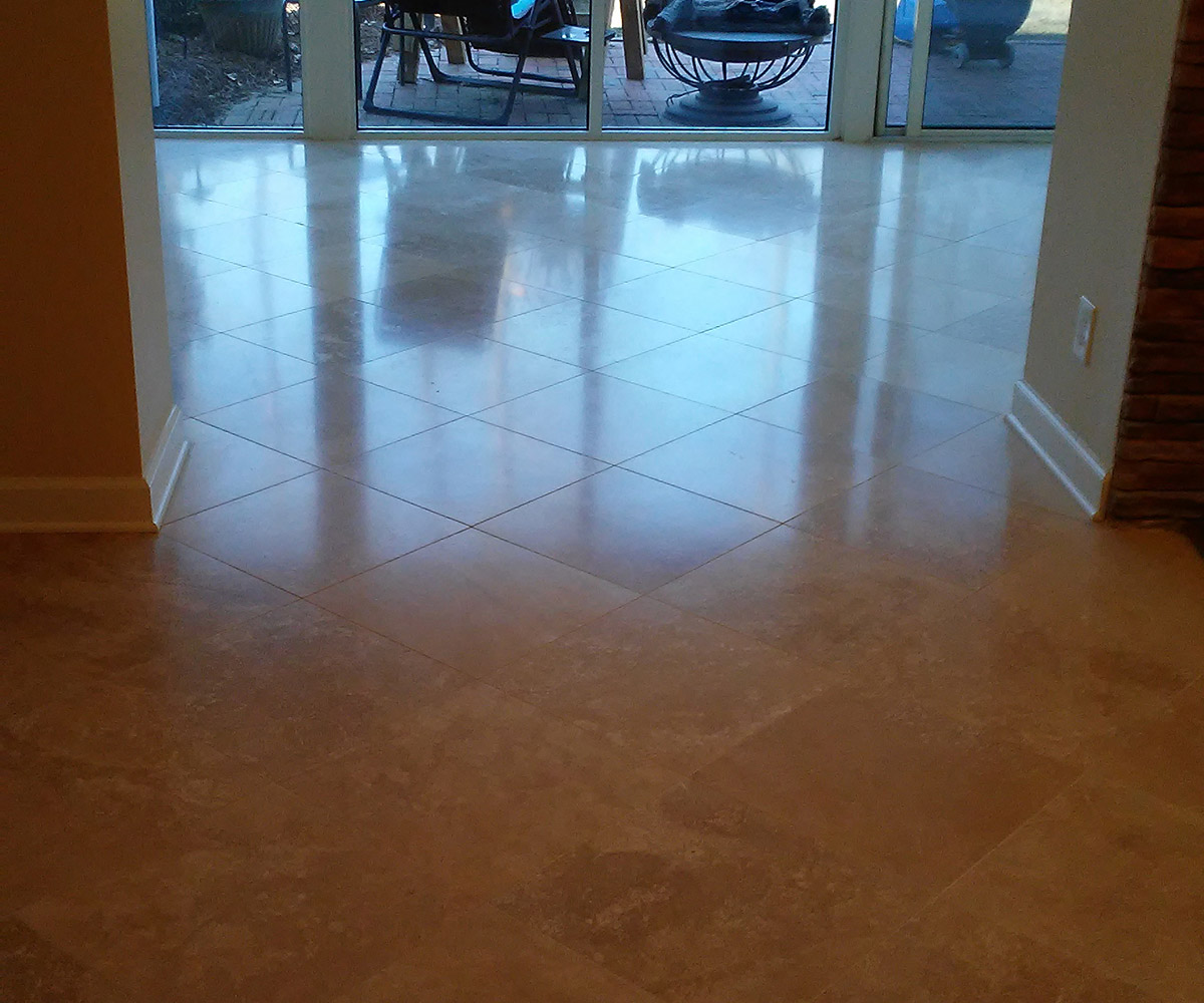 Travertine Restoration - Honed Satin Finish | Clayton, NC